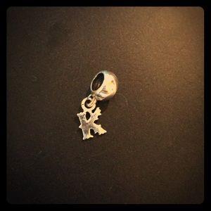 K initial charm for Pandora bracelet